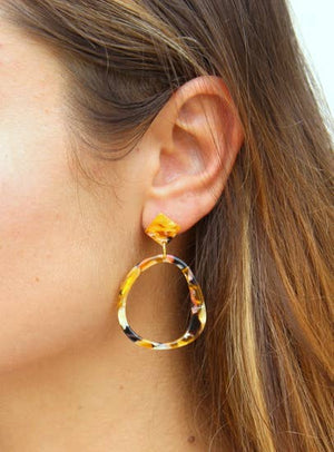 Tortoise Shell Animal Print Hoop Earrings