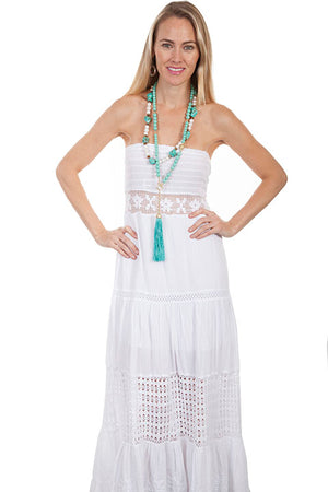 Boho white cotton tube dress