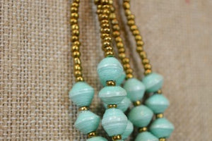 Turquoise Paper Bead Necklace