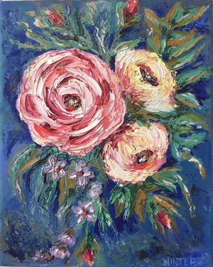 "8"" x 10"" Original Artwork Oil on Stretched Canvas ""Wild Roses"""