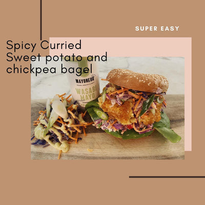 Spicy Curried Sweet Potato and chickpea bagel