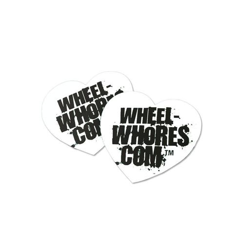 Wheel Whores Small White Heart Sticker Pack
