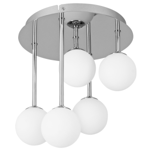BRIGHT STAR - CEILING FITTING POLISHED CHROME WHITE GLASS LAMPS NOT INCL 5X35W (CF015/5 CHROME)