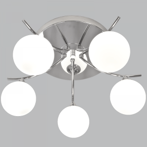 CF096/5 CHROME White Glass Ceiling Fitting - Mi Lighting