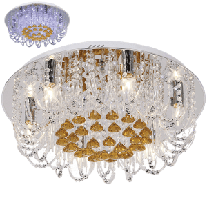 BRIGHT STAR - CHROME CLEAR AMBER CRYSTALS CEILING FITTING 6X40W (CF2826/6 LED)