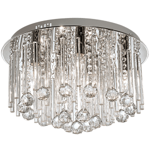 BRIGHT STAR - CHROME GLASS CRYSTALS CEILING FITTING 7X9W (CF298 CHROME)