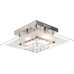 BRIGHT STAR - CHROME GLASS CRYSTAL SQUARE CEILING FITTING 5X25W (CF312/5 CRYSTAL)