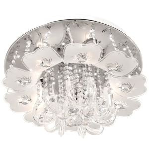 BRIGHT STAR - CHROME FROSTED GLASS ACRYLIC CRYSTALS CEILING FITTING 5X40W (CF318 CHROME)