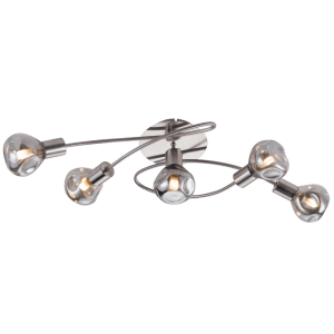 BRIGHT STAR - SATIN CHROME SMOKE GLASS CEILING FITTING