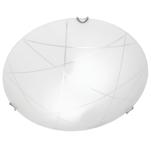 BRIGHT STAR - FROSTED PATTERNED GLASS CEILING FITTING 60W/2X60W (CF513 CHROME)