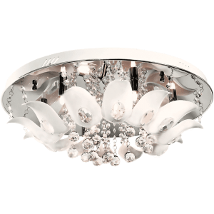 BRIGHT STAR - CHROME WHITE PERSPEX CRYSTALS CEILING FITTING 8X40W (CF635/8 CHROME)