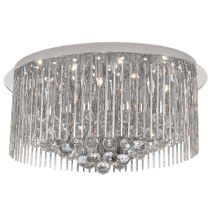 BRIGHT STAR - CHROME FLUSH GLASS CRYSTALS CEILING FITTING