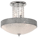 BRIGHT STAR - CHROME STIPPLED GLASS ACRYLIC CRYSTALS CEILING FITTING 5X40W (CF722/5 CHROME)