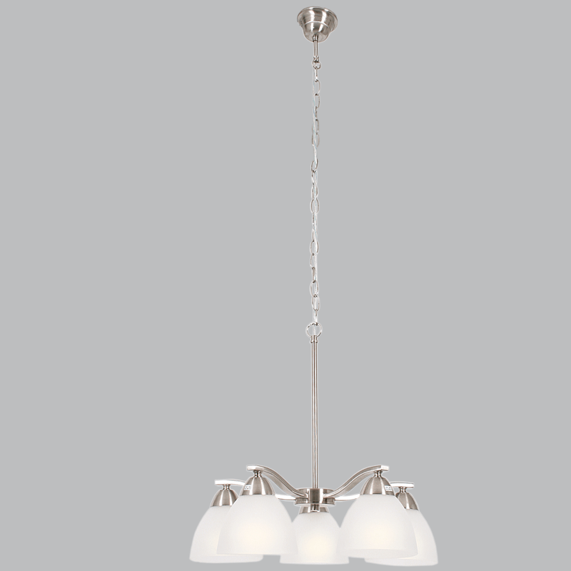 BRIGHT STAR - SATIN CHROME CHANDELIER FROSTED GLASS 5X60W (CH167/5 SATIN)