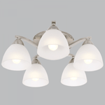 BRIGHT STAR - SATIN CHROME CHANDELIER FROSTED GLASS 5X60W (CH168/5 SATIN)