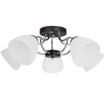 BRIGHT STAR - CHROME BLACK CHANDELIER FROSTED GLASS 5X60W (CH178/5 CHROME)