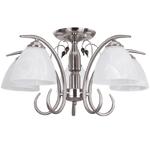 BRIGHT STAR - SATIN CHROME CHANDELIER ALABASTER GLASS WOOD 5X60W (CH179/5 SATIN)