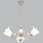 BRIGHT STAR - SATIN CHROME CHANDELIER WHITE GLASS 3X60W (CH222/3 SATIN)