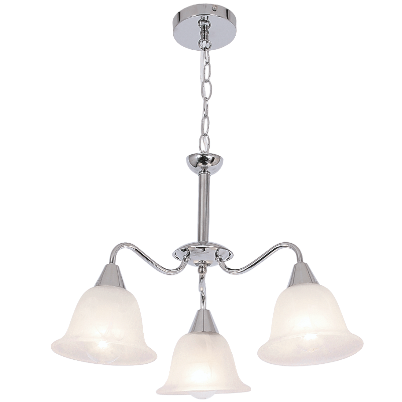 BRIGHT STAR - CHROME CHANDELIER ALABASTER GLASS 3X40W (CH231/3 CHROME)