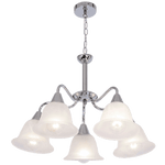 BRIGHT STAR - CHROME CHANDELIER ALABASTER GLASS 5X40W (CH231/5 CHROME)