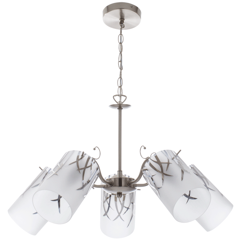 BRIGHT STAR - SATIN CHROME PATTERNED FROSTED GLASS CHANDELIER 5X60W (CH239/5 SATIN)