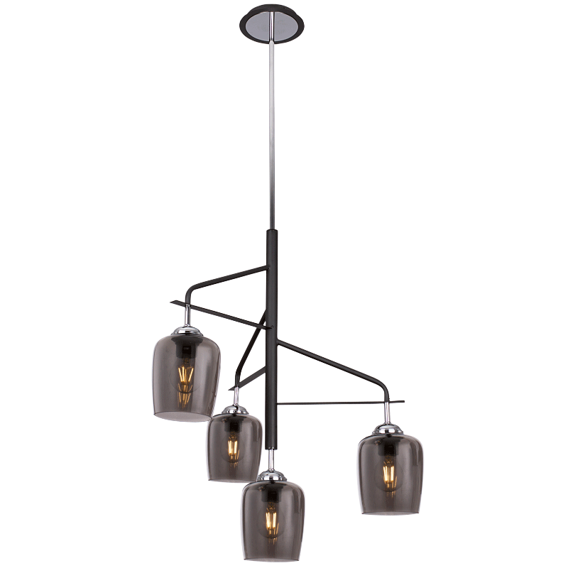 BRIGHT STAR - BLACK CHROME CHANDELIER SMOKE GLASS
