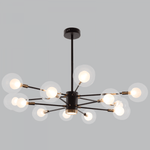 BRIGHT STAR - BLACK/GOLD CHANDELIER CLEAR / WHITE GLASS 5W/12X40W (CH254/12 BLACK/GOLD)