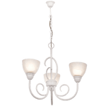 BRIGHT STAR - FRENCH WHITE CHANDELIER ALABASTER GLASS 3X60W (CH3068/3 FRENCH WHITE)