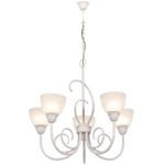 BRIGHT STAR - FRENCH WHITE CHANDELIER ALABASTER GLASS 5X60W (CH3068/5 FRENCH WHITE)