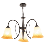BRIGHT STAR - CHANDELIER FLUTED AMBER GLASS 3X40W (CH366/3 BLACK)