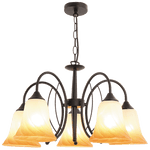 BRIGHT STAR - CHANDELIER FLUTED AMBER GLASS 5X40W (CH366/5 BLACK)