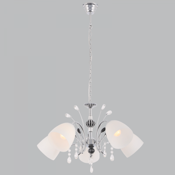 BRIGHT STAR - CHROME CHANDELIER OPAL GLASS CRYSTALS 5X40W (CH384/5 CHROME)