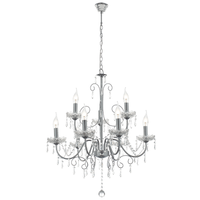 BRIGHT STAR - CHROME CHANDELIER CRYSTALS 9X60W (CH388/9 CHROME)