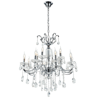 BRIGHT STAR - CHROME CHANDELIER CRYSTAL 12X40W (CH426/8+4 CRYSTAL)