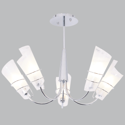 BRIGHT STAR - CHROME CHANDELIER FROSTED GLASS 5X40W (CH445/5 CHROME)