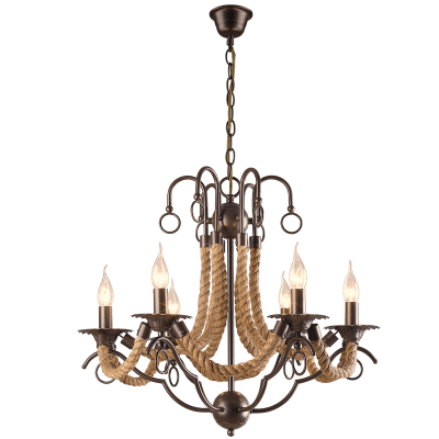 BRIGHT STAR - BROWN CHANDELIER ROPE 6X60W (CH475/6 BROWN)