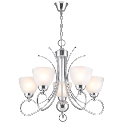 BRIGHT STAR - CHROME CHANDELIER FROSTED GLASS