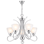 BRIGHT STAR - CHROME CHANDELIER FROSTED GLASS 5X60W (CH476/5 CHROME)