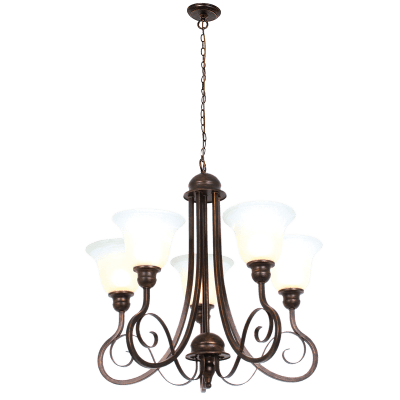 BRIGHT STAR - BLACK GOLD CHANDELIER ALABASTER GLASS 5X60W (CH481/5 BLACK GOLD)