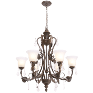 BRIGHT STAR - BROWN GOLD CHANDELIER FLUTED AMBER GLASS CRYSTALS 6X60W (CH5035/6 BROWN GOLD)