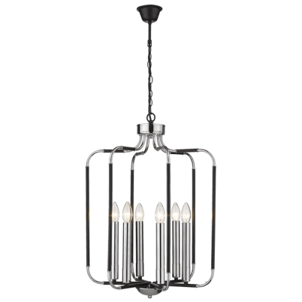 BRIGHT STAR - CHROME BLACK CHANDELIER 6X60W (CH515/6 CHROME)