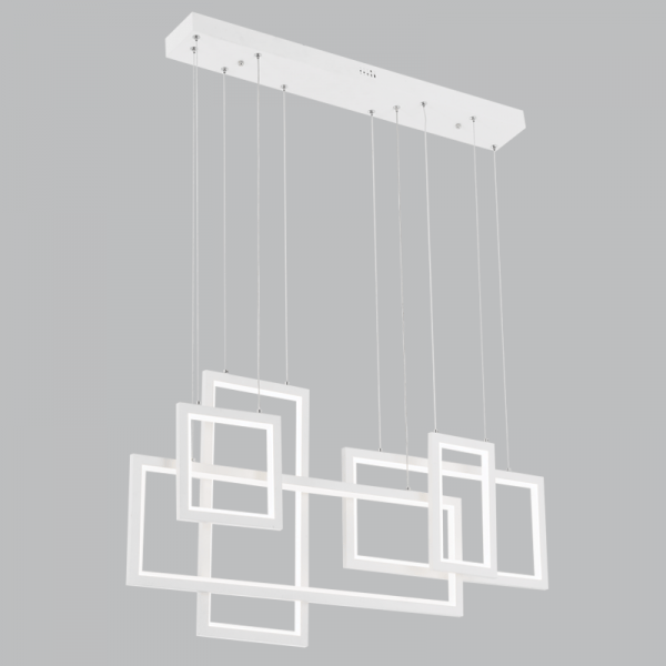 BRIGHT STAR - WHITE ALUMINIUM ACRYLIC CHANDELIER 95W 4000K (CH516 WHITE)