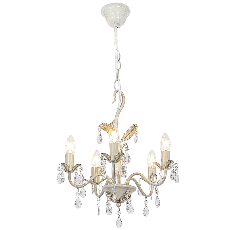 BRIGHT STAR - FOSSIL WHITE CHANDELIER ACRYLIC CRYSTALS 5X60W (CH521/5 FOSSIL WHITE)