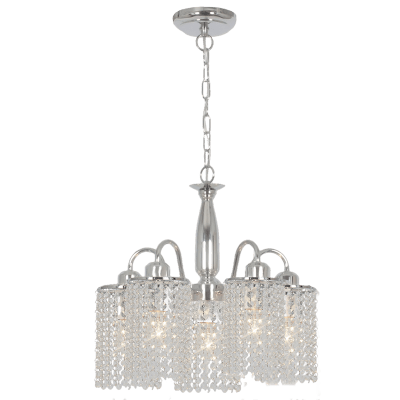 BRIGHT STAR - CHROME CHANDELIER ACRYLIC CRYSTALS 5X60W (CH522/5 CHROME)