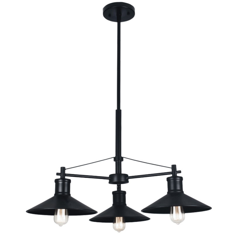 BRIGHT STAR - BLACK CHANDELIER 3X60W (CH529/3 BLACK)