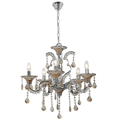 BRIGHT STAR - CHROME CHANDELIER AMBER ACRYLIC CRYSTALS