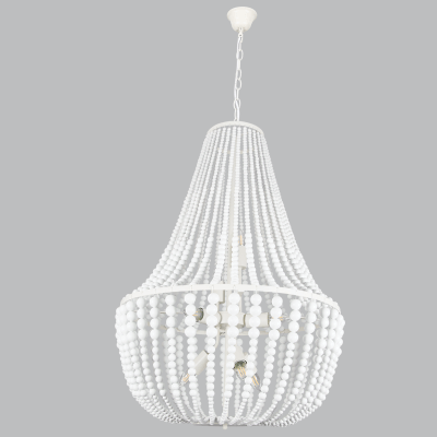 BRIGHT STAR - WHITE METAL WOOD CHANDELIER 8X11W (CH891/8 WHITE)
