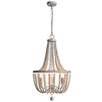 BRIGHT STAR - BEAD METAL WOOD CHANDELIER 3X40W (CH892/3 BEAD)