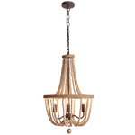 BRIGHT STAR - BEAD METAL ROPE WOOD CHANDELIER 3X40W (CH894/3 BEAD)