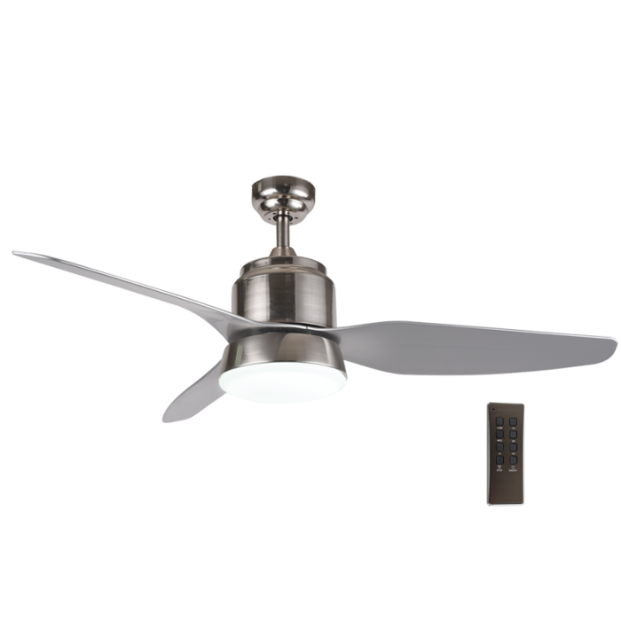 BRIGHT STAR - SATIN CHROME 3 BLADE CEILING FAN/LIGHT